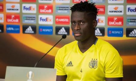 Anderlecht's Kara Mbodji pictured during a press conference of Belgian first league soccer team RSC Anderlecht, Wednesday 02 November 2016. Tomorrow Anderlecht is playing the fourth game of the group stage of the Europa League competition against German club 1. FSV Mainz 05, in the group C. BELGA PHOTO LAURIE DIEFFEMBACQ