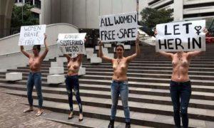 Australie: seins nus en en soutien à la Saoudienne menacée d'expulsion par la Thaïlande